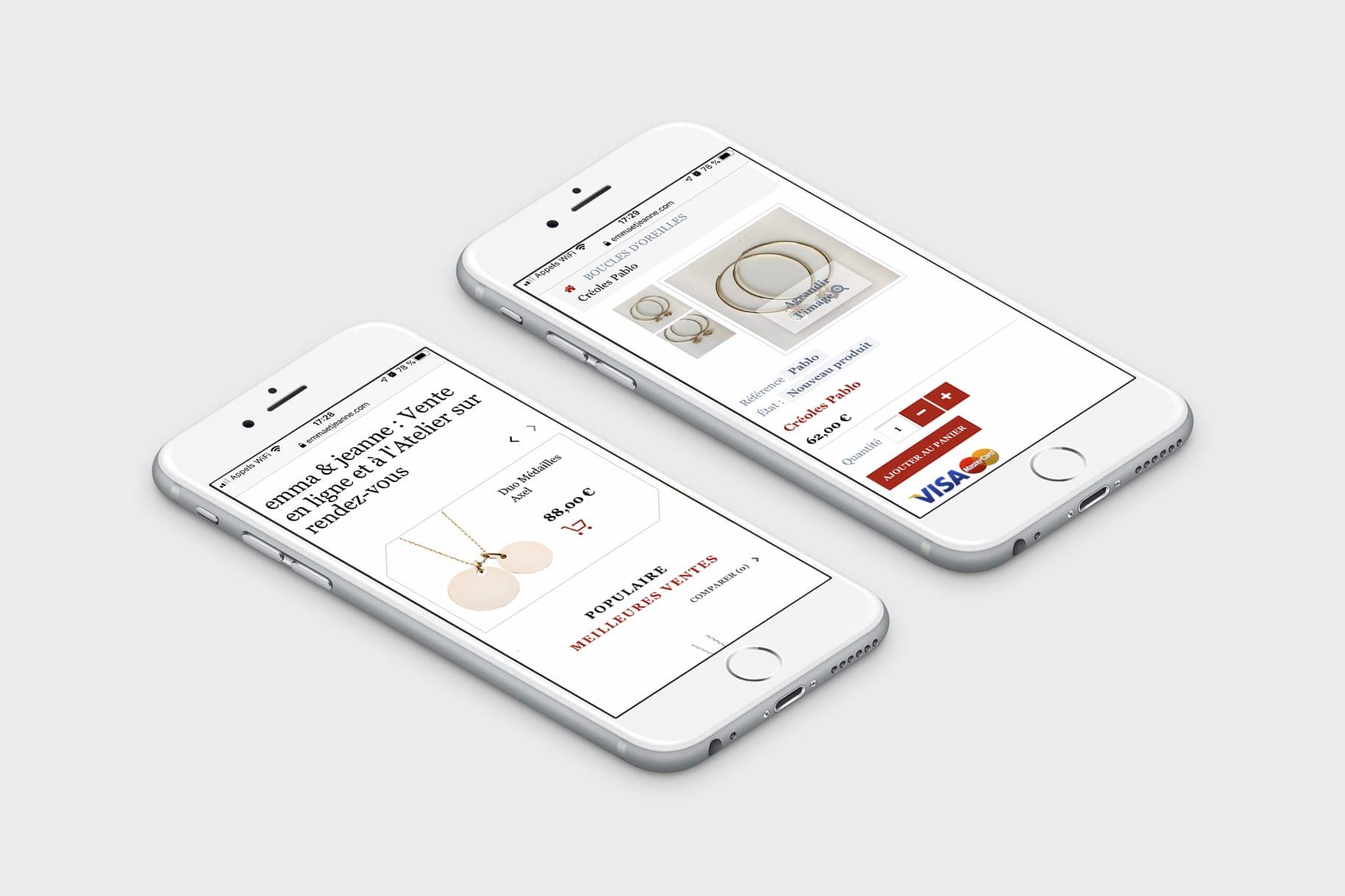Emma et Jeanne - Boutique en ligne de bijoux personnalisables - Responsive Smartphone