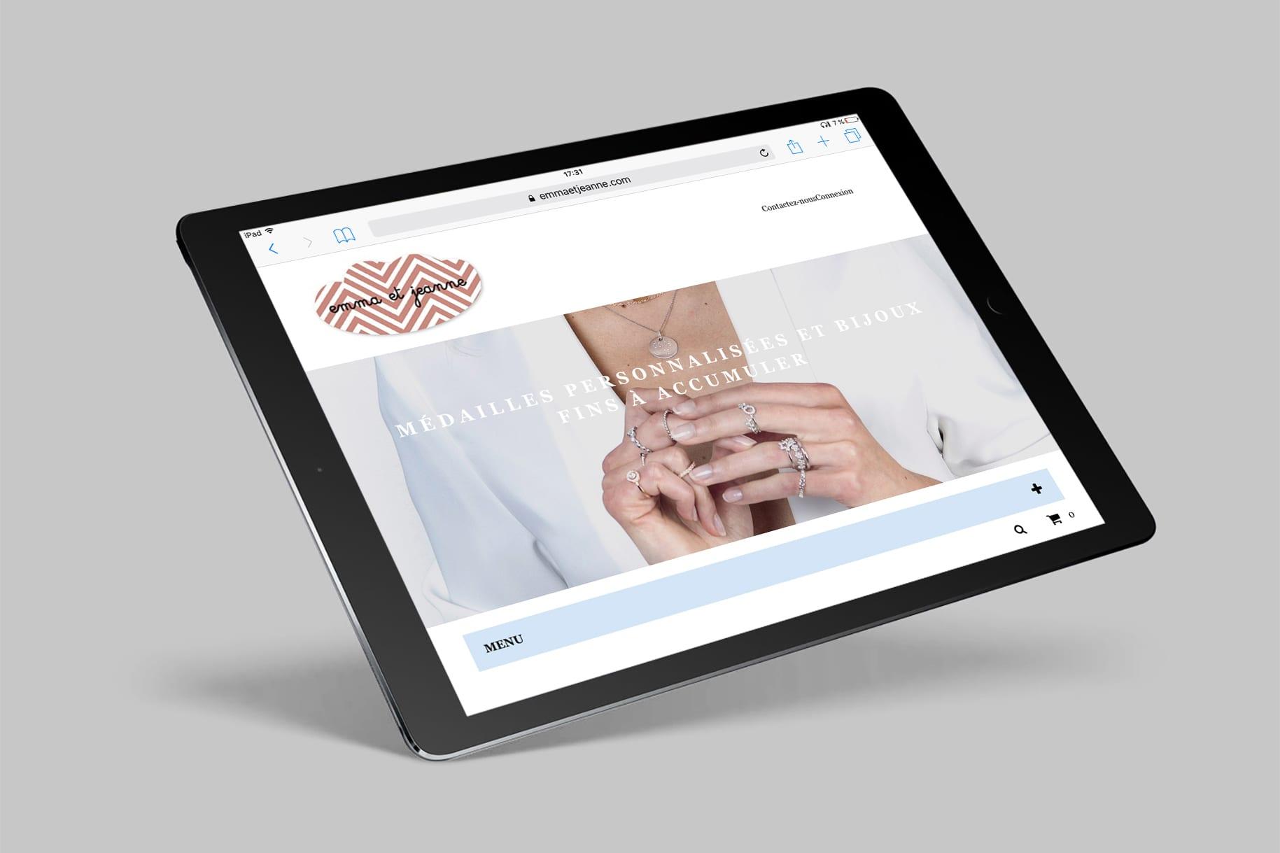 Emma et Jeanne - Boutique en ligne de bijoux personnalisables - Responsive Tablette